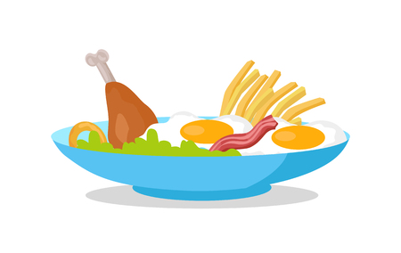 cooked meat: Chicken, fried eggs with bacon, fries and salad on the plate isolated on white. Traditional English breakfast. Two fresh cooked eggs with meat served on the dish. Nutrition food concept. Vector