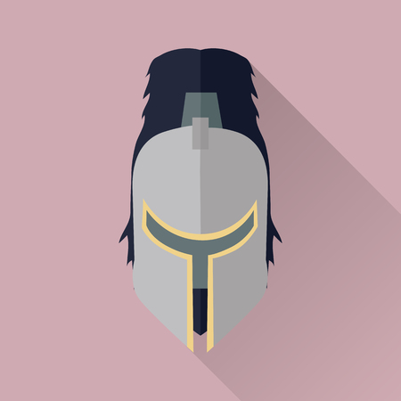 headpiece: Helmet headpiece isolated. Shield for game. Medieval armour. Weapon symbol icon. War concept. For computer games, mobile appliances. Part of series of game objects in flat design. Vector illustration.