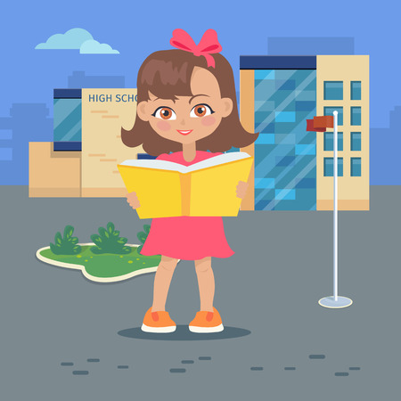 break in: Girl reads a book near high school building isolated on white. Adorable girl has leisure time. Student during break. Young lady at the university in flat style design. Daily activity. Vector
