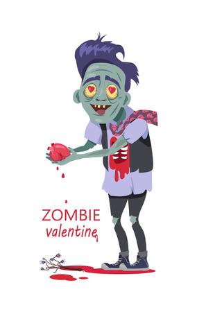 Scary zombie valentine. Dead man with grey skin, in torn clothes standing with tear out heart in hands, bouquet of flowers lying in a pool of blood vector illustration isolated on white background Illustration