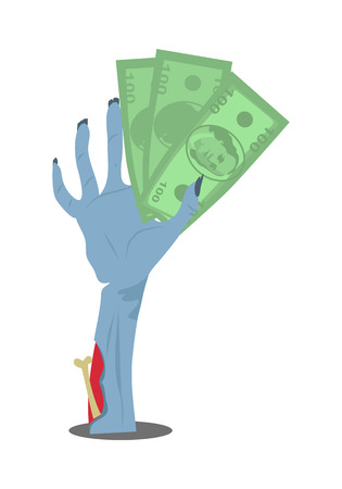 spend: Zombie hand sticking out of the ground with dollar bills flat vector illustration isolated on white. Living dead ready to spend money. Humorous concept of human mass consumerism, halloween party decor
