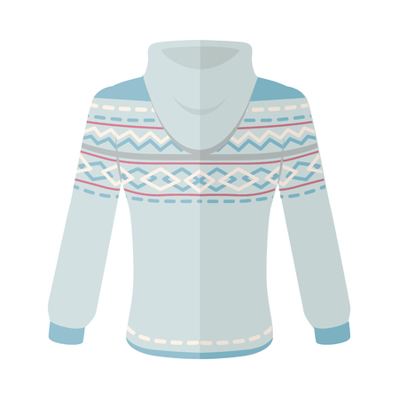 warm clothing: Warm sweater with turn-over collar and ornaments Elegant blue unisex wear flat vector isolated on white background. Clothing for autumn and winter seasons cold weather. For store ad, fashion concept