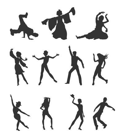 Tańczące ludy. Mężczyźni i kobiety znaków w nowoczesne i narodowe ubrania w różnych pozach zestaw ilustracji wektorowych samodzielnie na białym tle. Dla ikony aplikacji, logo, infografiki, projektowanie stron www