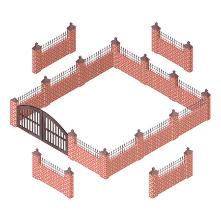 wicket: Iron fence with brick columns isolated on white. Gate with wicket in flat style design. Isometric projection. Metal gates, wrought iron, lattice gates and fences for yard. Vector illustration