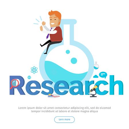 applauding: Research conceptual web banner. Happy applauding man seating on huge laboratory flask, books, microscope, magnifier, atom icons beside. For laboratory, scientific research center landing page design
