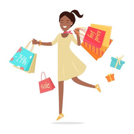 Woman shopping. Lady trasporta sacchi di carta con il testo di vendita calda, grande vendita. Design piatto. Sorridente carattere donna con confezioni regalo. Il piacere di acquisto. Per le vendite e sconti. illustrazione di vettore