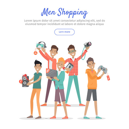 happy web: Man shopping web banner. Group of young happy males with diferrent electronics in hands purchased on sale flat vector illustration on white background. For stores discounts promotions landing page