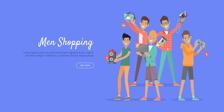 happy web: Man shopping web banner. Group of young happy males with diferrent electronics in hands purchased on sale flat vector illustration on blue background. For stores discounts promotions landing page
