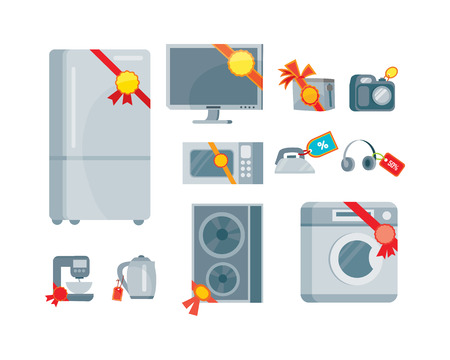 Sale and discount household appliances with red tags in flat style. Household appliances devices with percent discount stickers. Black friday. Illustration for electronics stores advertising. Vector