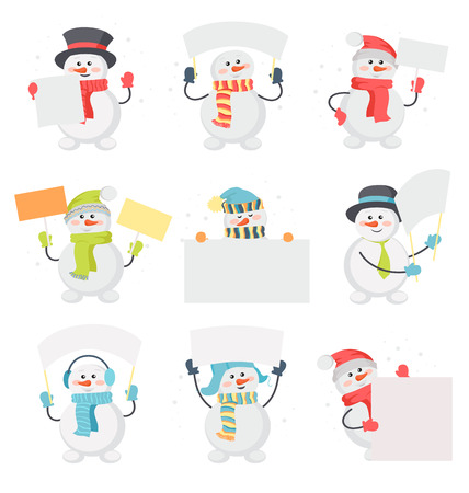 message board: Set of snowman cartoons with blank message board. Funny snowman character in santa hat, scarf, cylinder, warm earmuffs holding cardboard placard flat vector illustration isolated on white background Illustration