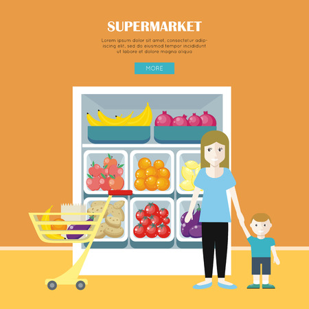 Supermarket design. Woman and little boy make shopping. People buying goods, marketing. Market shop interior, customer in mall, retail store. Part of series of people in supermarket interior. Vector Illustration