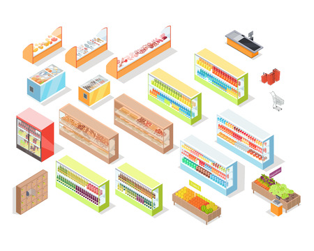 Supermarket departments interior set. Bakery, juices, alcohol, fruits, vegetables, milk, meat and fish, cheese. 3d isometric. Supermarket shelves Grocery store self-service shop icons Vector Vectores