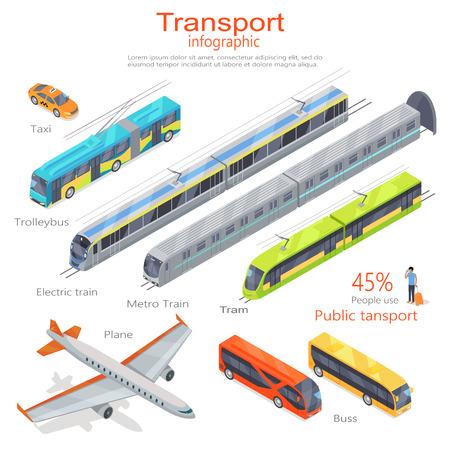 usage: Transport infographic. Public transport. Plane. Bus. Trolleybus. Electric train. Metro train. Trum. 45 percent use public transport. Statistics of transport usage Transport system concept Vector