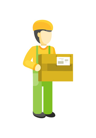 Delivery man holds package in his hands. Manager deliver goods to designated place. Equipment delivery process of warehouse. Loader man isolated on white background. Business delivery of cargo. Vector Illustration