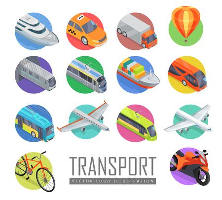 Transporte Vector de la insignia ilustración. Conjunto de iconos de transporte. Vector en proyección isométrica. Carretera, ferrocarril, volar, agua, transporte personal, público, comercial con el subtítulo. Para el diseño de anuncios, juegos de aplicaciones