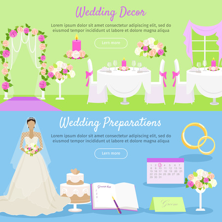 preparations: Wedding decor and wedding preparations web banner. Planning the wedding day. Getting ready to marriage ceremony. Getting ready everything ahead. Choosing the date, dress, place decoration menu. Vector
