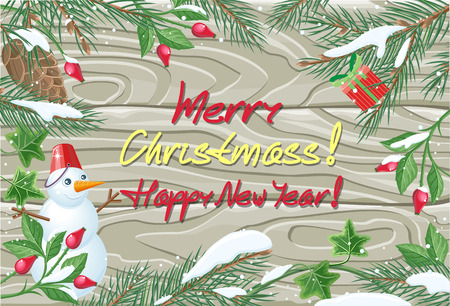 rose hips: Merry Christmas and Happy New Year poster. Winter frame with rose hips, pine tree branches with cones and ivy leaves with snow on wooden background. Greeting card, postcard design with snowman. Vector
