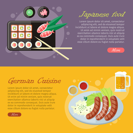 National culinary delights. Japanese food, German cuisine banners. Sushi rolls on plate, bamboo sticks, wasabi, ginger and grilled sausages on plate with garnish, sauce and pint of beer flat vector
