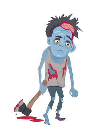 Scary zombie walking. Frightening dead man with blue skin, blood stains, dressed in tatter drags bloody ax flat vector illustration isolated on white background. Horror character for Halloween concept Illustration