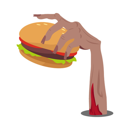 Zombie hand sticking out of the ground with hamburger flat vector illustration isolated on white. Hungry living dead with fast food. Humorous concept of human mass consumerism, halloween party decor