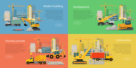 building site: Modern building, development, pouring concrete, construction vector web banners. Different construction machines working on building site, uncompleted buildings and cranes behind on color backgrounds