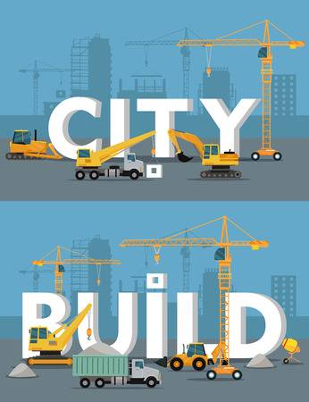 building site: City build vector concepts. Different construction machines on building site mount huge words city and build, silhouette of buildings and cranes on background. For building companies advertising
