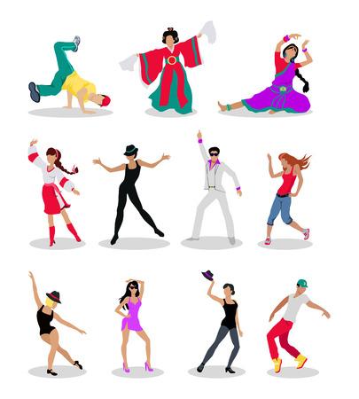 Tańczące ludy. Mężczyźni i kobiety znaków w nowoczesne i narodowe ubrania w różnych pozach zestaw ilustracji wektorowych samodzielnie na białym tle. Dla ikony aplikacji, logo, infografiki, projektowanie stron www Logo