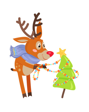 undomesticated: Deer in blue scarf decorating christmas tree isolated. Funny reindeer prepares for the New Year Eve. Cute mammal character decorates fir tree with garland in flat style. Vector design illustration