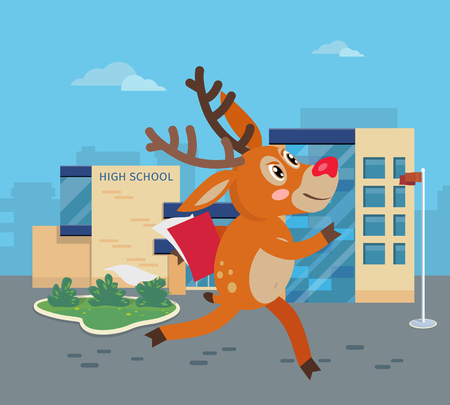 hurrying: Deer running to school with books. Reindeer hurrying to school. Cartoon character mammal pupil in flat style design. Back to school concept. Happy deer runs to high school. Vector illustration Illustration