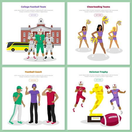 football teams: American football banners. College football team, cheer leading teams, football coach, heisman trophy vector web templates with people in sportswear. For team, sport tournament landing page design