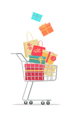 discount store: Buying gifts on sale. Shopping trolley full of gift boxes with discount percents tags flat vector illustration isolated on white background. Holiday purchases in supermarket. For store promotioms ad Illustration