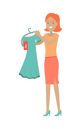 Discounts in clothing store concept. Smiling woman standing with dress bought on sale flat vector illustration isolated on white background. Shopping on holiday sellout. For shop promotions ad Illustration