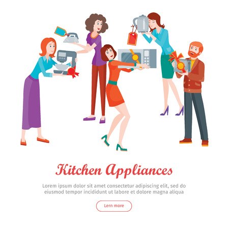 Kitchen appliances. Set of people on store sale. Flat design vector. Man and woman happy characters holding different goods with sale stickers. Home technic, electronic devices, household shopping Illustration