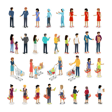 People in supermarket. Set of customers and sellers characters vector. Flat style design. Man and woman making purchases, sell goods. Supermarket personnel, consumer choice, shopping in mall concept. Vettoriali