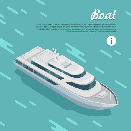 work boat: Boat sailing in sea. Boat watercraft designed to float, plane, work or travel on water. White cruise boat icon in flat style web banner. Cruise ship or cruise liner passenger ship. Vector illustration