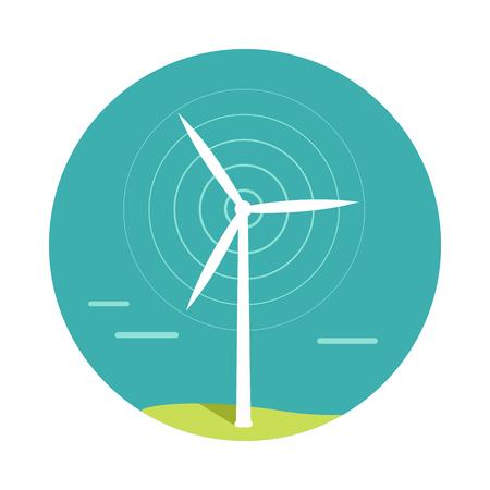 turbina: Vector viento turbina. Diseño plano. tecnología de energía alternativa y la protección del medio ambiente. Viento mueve álabes de la turbina. Por conceptos, electricidad verde energéticos. Aislado en el fondo blanco Vectores