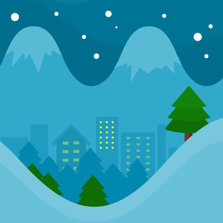 snowcapped: Winter season vector concept. Flat design. Night city surrounded spruce forest, snow-capped mountains. Ski resort. Christmas and New Year celebrating. For seasonal ad design, weather illustrating