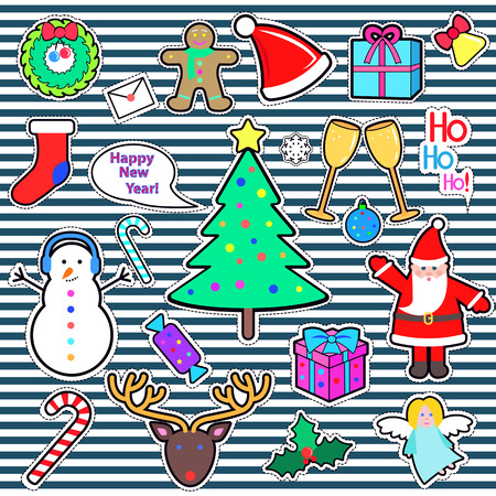 Set of Happy New Year and Merry Christmas elements. Icons can be cut out of paper. Xmas tree, snowman, Santa Claus, deer, candy stick, present, gift, angel, speech bubble in flat style. Vector