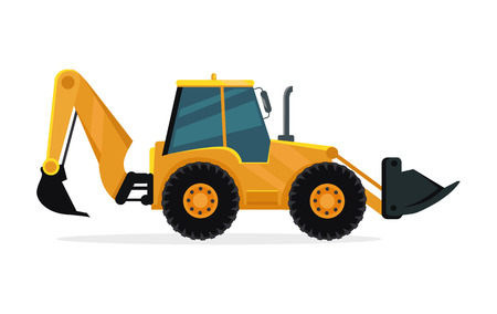 excavating machine: Loader vector illustration. Flat design. Heavy construction machine for earthworks. Illustration for building concepts, city works infographics, icons or web design. Isolated on white background Illustration
