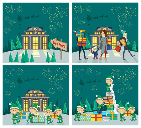 Set of Christmas celebrating vector concepts. Flat design. Holiday shopping with family in mall and fairy elfs packing gifts, fireworks and Santa on sleigh in sky. For seasonal sales, greeting cards