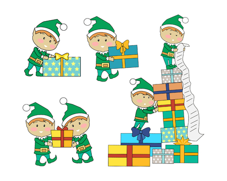 Set of fairy elves with christmas presents. Flat design vector. Funny Christmas elfs in green suits holding, counting, carrying gift boxes with stripes. Winter holidays celebrating symbols. On white