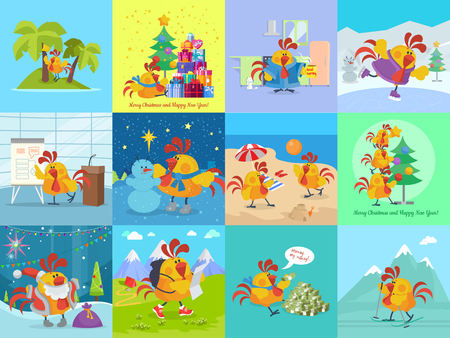 sedge: Rooster bird adventures set. Collection of greeting cards with cock. Chinese calendar zodiac horoscope. Chicken character collection in flat. New year xmas greeting card. Vector illustration
