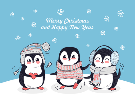 Merry Christmas and Happy New Year poster. Happy winter friends. Three little penguins in winter clothes. Winter landscape with cartoon characters. Funny creatures in flat style design. Vector