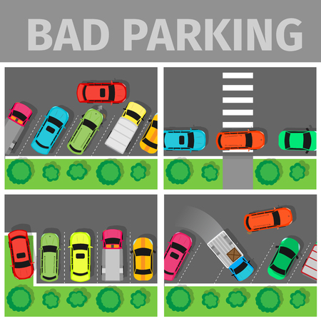 car park: Bad parking set. Car parked in inappropriate way on lawn pavement, sidewalk, Driver annoying everyone. Parking zone conceptual web banner. Rude disrespectful i driver in parking lot or car park. Vector