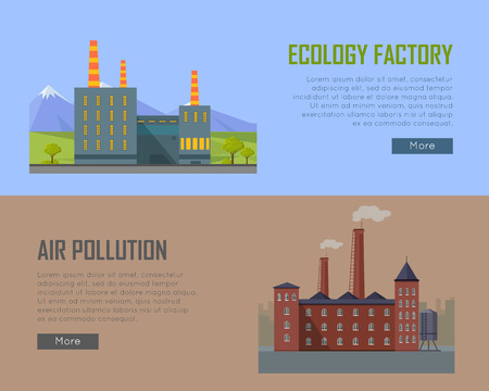 kwaśne deszcze: Ecology factory and air pollution plant banners. Eco factory in clean picturesque place and industrial factory in polluted city with smog, environmental problems. Destroying nature. Vector illustration Ilustracja