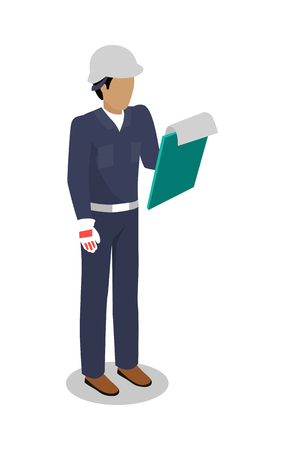 overalls: Worker in uniform vector illustration. Isometric projection. Man character in blue overall, helmet, gloves standing with pad paper holder in hand. Builder, engineer, courier. On white background