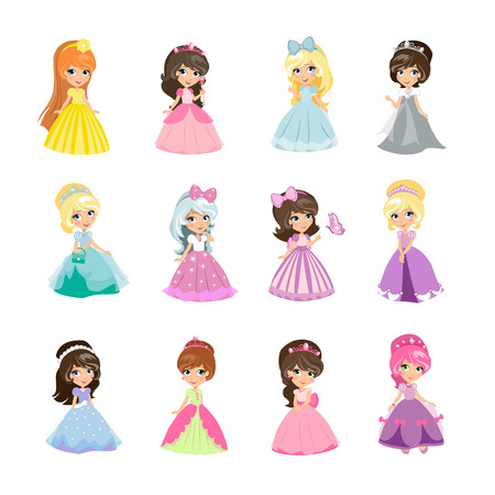 Set of princesses in evening gowns isolated. Elegant little girls in flat style. Fashionable ladies in dresses, fairytale costumes, magic fantasy fashion. Princess with crowns. Vector illustration Stok Fotoğraf - 67689624