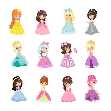 Set van prinsessen in avondjurken geïsoleerd. Elegant kleine meisjes in vlakke stijl. Modieuze dames in jurken, sprookjesachtige kostuums, magische fantasie mode. Prinses met kronen. vector illustratie