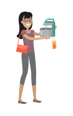 whisking: Woman buys mixer with bowl on sale. Discount on household appliances. Kitchen utensil used a gear-driven mechanism to rotate set of beaters in bowl with food. Tirring, whisking or beating. Vector Illustration
