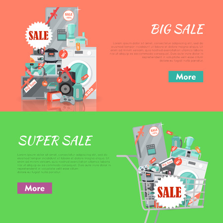 Big super sale banners set. Household appliances flat style. For electronics stores advertising. Purchase of equipment in Internet. Devices with red discount tags in cart trolley. Black friday. Vector Illustration